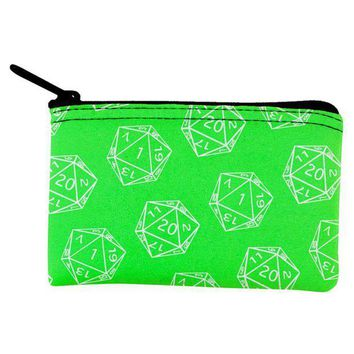 PEAPGQ9 D20 Gamer Critical Hit and Fumble Green Pattern Dice Pouch