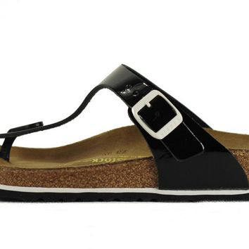 Birkenstock For Women: Gizeh Patent Leather Black Sandals - Beauty Ticks