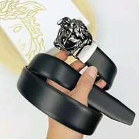 Versace Fashion New Human Head Buckle Leather Women Men Belt Black