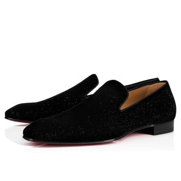 Dandelion flat sparkly velvet BLACK Velvet - Men Shoes - Christian Louboutin
