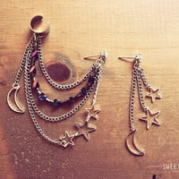 Silver Ear Cuff with Moon/Star Charms and a String of Beautiful Crystals