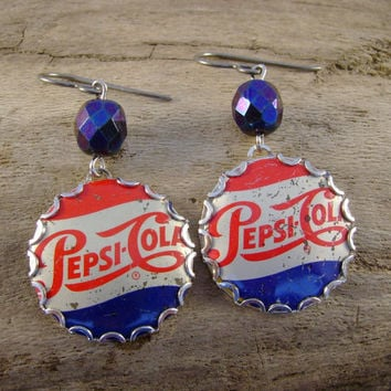 Pepsi Challenge - Vintage Pepsi Cola Bottle Caps Bezels Glass Beads Niobium Recycled Repurposed Jewelry Earrings