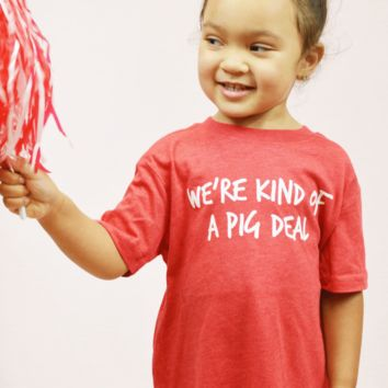 hey y'all toddler pig deal tee - red
