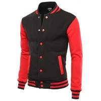 Doublju Mens VARSITY FLEECE JACKET (AMOJA01)