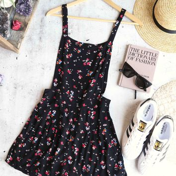 free people - sweet in the streets overall shorts - black