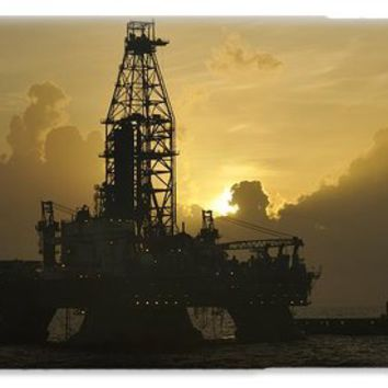 offshore oil rig with sun and clouds iPhone 6 Case