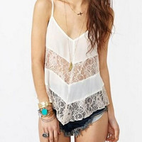 New Summer fashion Sexy Women vest Solid Color lace sleeveless T-shirt -0706