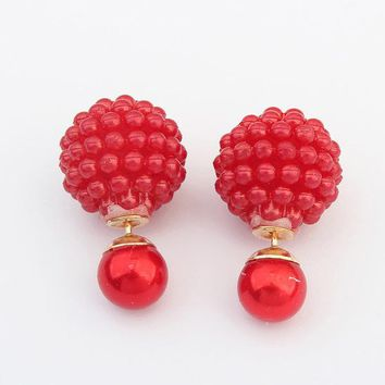 5 Colors Double Side Imitation pearl earring Trendy Cute Charm Pearl Statement Ball Stud earrings