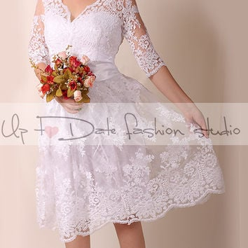 Lace short  Plus Size/V front аnd back/ wedding party/reception dress /lace / knee length/ Bridal Gown