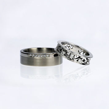 Diamond wedding ring set, Filigree wedding ring, titanium wedding band, diamond ring, men wide ring, matching wedding, white gold, unique