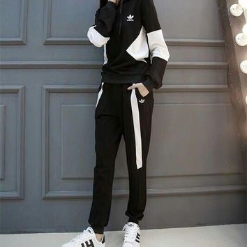 """Adidas"" Women Casual Multicolor Long Sleeve Hooded Sweater Trousers Set Two-Piece Sportswear"