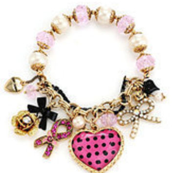 Betsey Johnson Breast Cancer Awareness Stretch Bracelet | Dillards.com