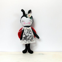 Ladybug Doll Baby toy Animal sleep doll Girls toy Stuffed ladybug doll Stuffed Animal Plush toy red black white