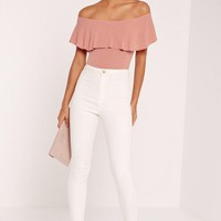 Missguided - Frill Bardot Ribbed Bodysuit Pink