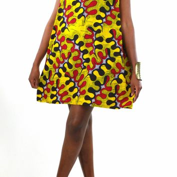 African Print Halter Neck Dress - Yellow/Red Floral Print