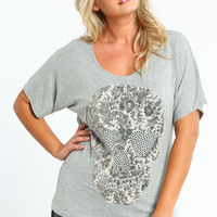 PLUS SIZE SPARKLING EYE SKULL TEE