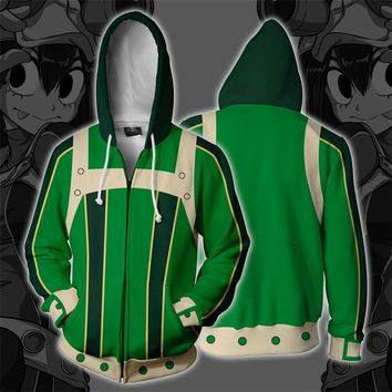 Anime My Hero Academia Asui Tsuyu 3D Print Hoodies Sweatshirts Cosplay