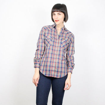 Vintage 70s Shirt Plaid Western Shirt Lee Cowboy Shirt Cowgirl Shirt Red Navy Plaid Rockabilly Shirt Blouse Top Pearl Snaps S XS Extra Small