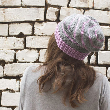 Striped Slouchy Hat, Grey Hat, Lavender Hat, Pure Wool Hat
