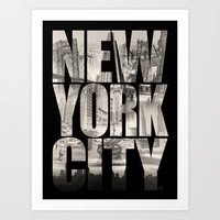 New York City Type Art Print by Gary Grayson