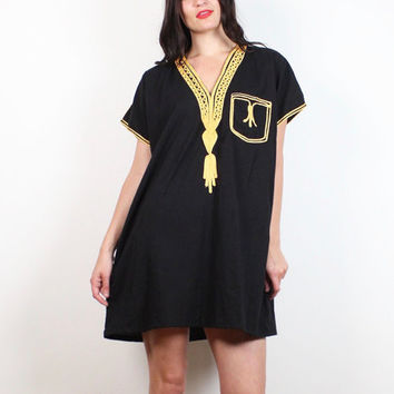 Vintage 70s Dress Black Yellow Gold Rope Cord Embroidered Ethnic Caftan Mini Dress 1970s Hippie Dress Boho Bohemian Tent Dress M L Large XL