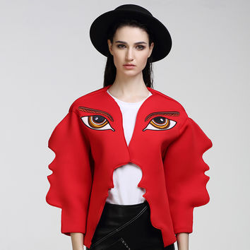 HIGH QUALITY New Fashion 2016 Runway Designer Jacket Women's 3D Wave Cutting Eyes Embroidery Face Jacket Outerwear