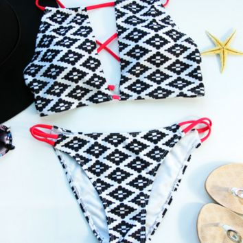 CUTE HIGH NECK GREY PRINT GEOMETRIC TWO PIECE BIKINIS