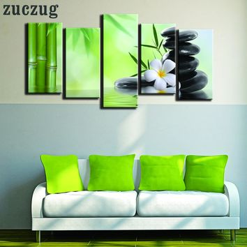 5 Piece Bamboo Spa Zen Oil on Canvas Wall Art - 2 Size Options