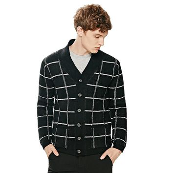 INMINE Men Long Sleeve Knit Sweater Jacket Casual Plaid Pattern V-neck Collar Cardigan Thickening Cardigan Sweater Outwear