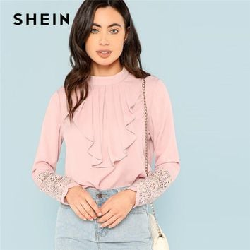 SHEIN Pink Flounce Neck Lace Cuff Top Elegant Stand Collar Long Sleeve Ruffle Blouse Women Autumn Plain Workwear Shirt Tops