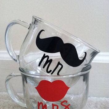 Mr and Mrs or His and Hers Clear Coffee Mug Set