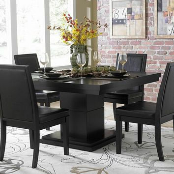 5 pc Cicero collection black finish wood square dining table set with brown upholstered chairs