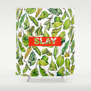 slay tea slay! // watercolor tea leaf pattern with millennial slang Shower Curtain by Camila Quintana S