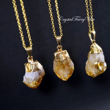Raw Citrine Point Necklace ⊿ Rough Natural Citrine ⊿ Citrine Crystal ⊿ Gold Citrine ⊿ Citrine Pendant ⊿ November Birthstone