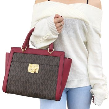 NWT Michael Kors Tina Large Top Zip Satchel Handbag Crossbody Brown MK Cherry