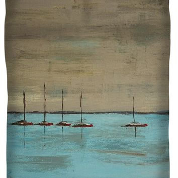 Sunset Boats Queen Duvet Cover for Sale by Ben Gertsberg