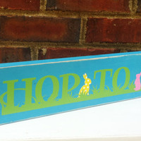 Distressed Easter Bunny sign Hop To It Home Decor Office Studio Dorm Nursery