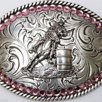 Nocona Belt Co. Youth Barrel Racing Buckle with Pink Stones