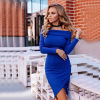 The word shoulder wrapped chest split long-sleeved dress