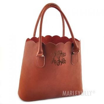 Monogrammed Scalloped Tote Purse | Marleylilly