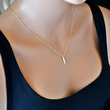 Dainty Bar Necklace, Vertical Bar Necklace, Tiny Bar Necklace Gold, Rose Gold, Silver, Minimal Necklace, Initial Bar Necklace