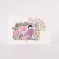 Asian X shabby chic greeting card - mini Kimono doll in a flower garden with butterfly