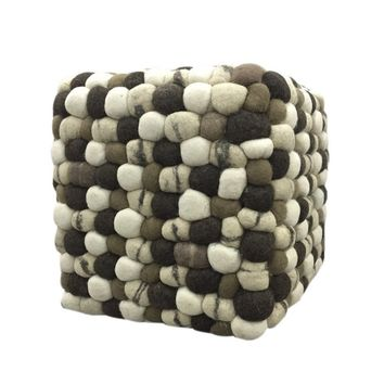 """Sammy"" Multi-Brown Pebble Handmade Woolen Pouf"