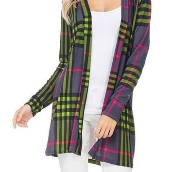 Future Plaid Print Cardigan