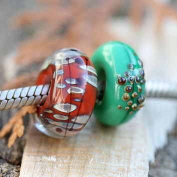 Lampwork glass large hole beads forest green and by MayaHoney