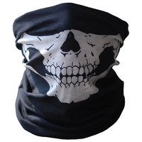 New Qualified Halloween Skull  Party Masks Black Motorcycle Multi Function Headwear Hat Neck Scary Sport Face Ski Mask dig6822