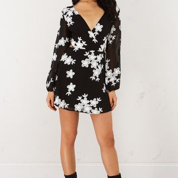 Lace Up Back Dress With Floral Detail in Black White