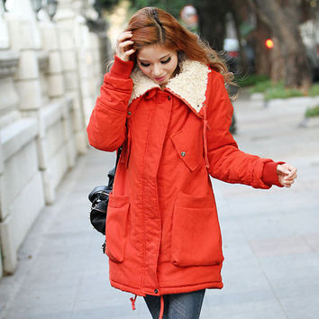 Fleece Parka Fur Collared Double Pocket Long Jacket