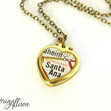 Tiny California Map Necklace featuring Disneyland Landmark, Vintage Brass Heart Locket, Map Jewelry, Paper Anniversary