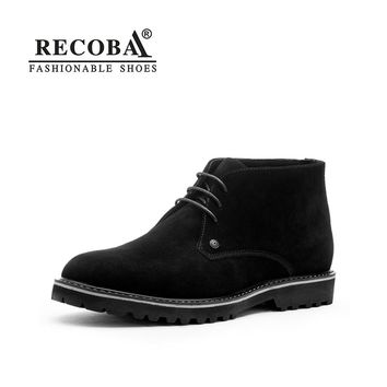 Mens boots casual  genuine leather suede ankle desert boots winter boots martin rain boots